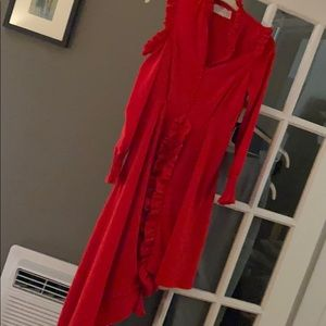 Style keepers  ruffle detail dress red size small